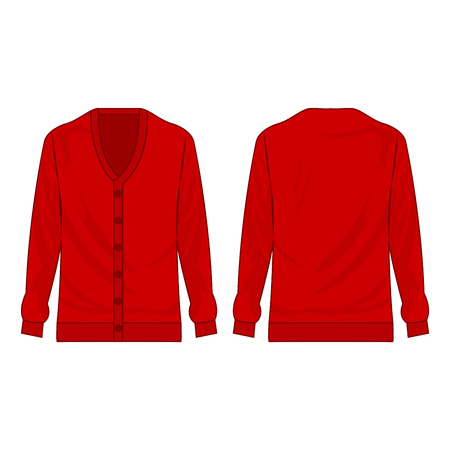 red basic cardigan with buttons isolated vector on the white background Banco de Imagens - 122591899