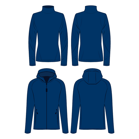 Blue polo neck and sport jacket isolated vector set on the white background Çizim