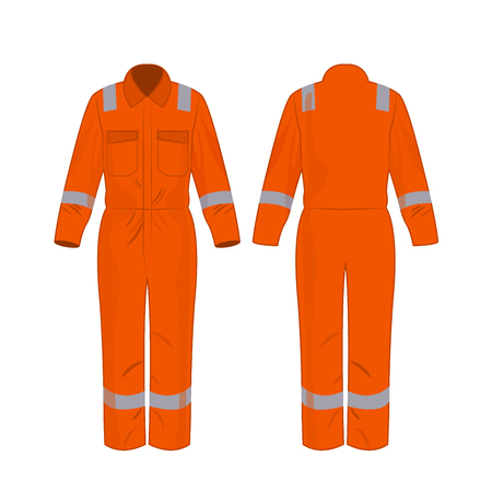 Orange work overalls with safety band isolated vector on the white background Banco de Imagens - 122591901