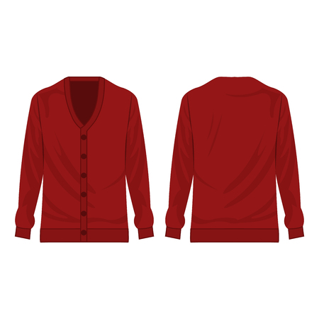 Dark red basic cardigan with buttons isolated vector on the white background