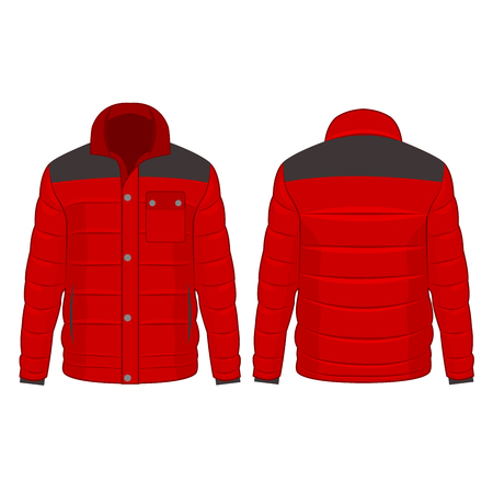 Red winter down jacket with buttons isolated vector on the white background
