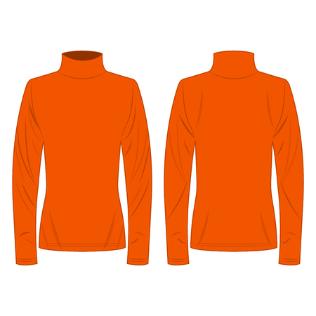 Orange polo neck isolated vector on the white background