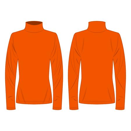 Orange polo neck isolated vector on the white background