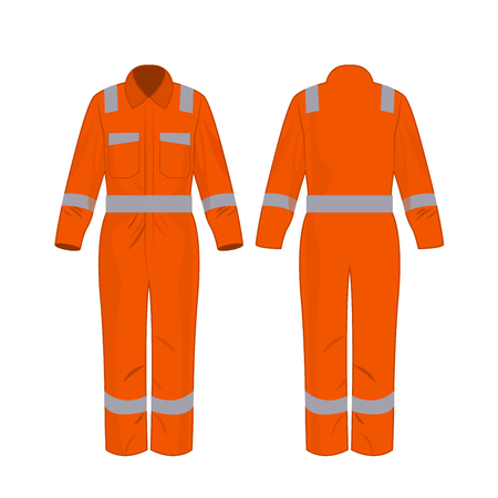 Orange work overalls with safety band isolated vector on the white background Çizim