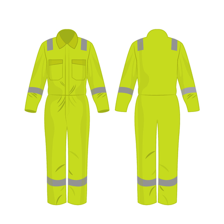 yellow green work overalls with safety band isolated vector on the white background