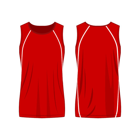 Red with white strip sport tank top isolated vector on the white background