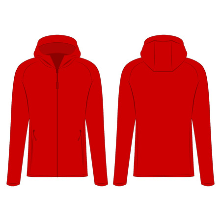 Red sport zipped jacket with hood isolated vector on the white background Banco de Imagens - 122591914