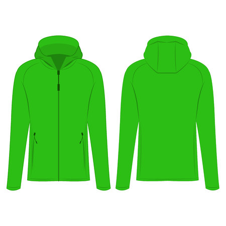 Light green sport zipped jacket with hood isolated vector on the white background Illustration