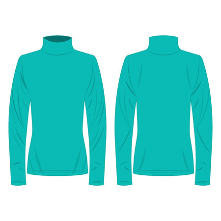 turquoise polo neck isolated vector on the white background