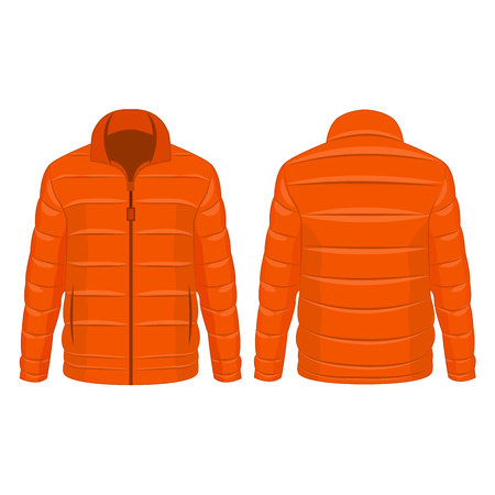 Orange winter zipped down jacket isolated vector on the white background Banco de Imagens - 122591917