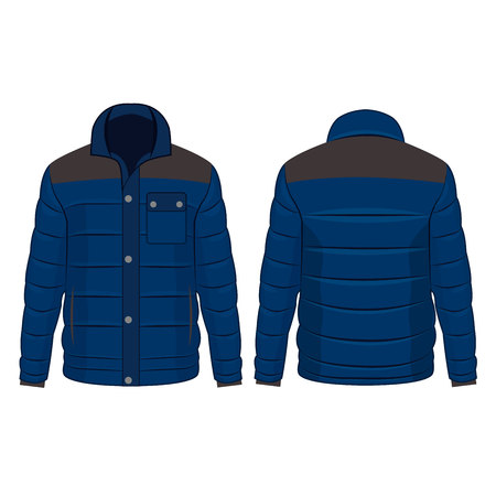 Blue winter down jacket with buttons isolated vector on the white background Çizim