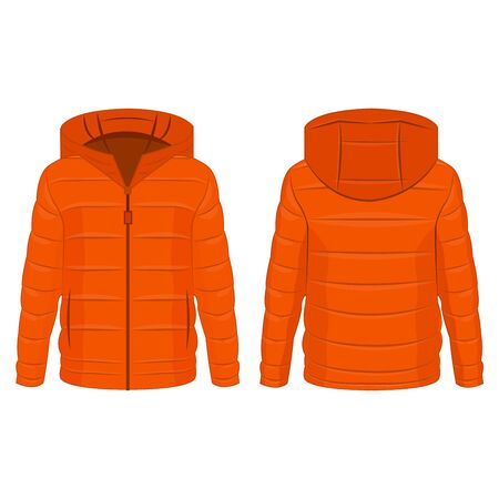 Orange color winter down zipped jacket with hood isolated vector on the white background Illustration