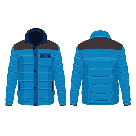 Baby Blue winter down jacket with buttons isolated vector on the white background Stok Fotoğraf - 134022684