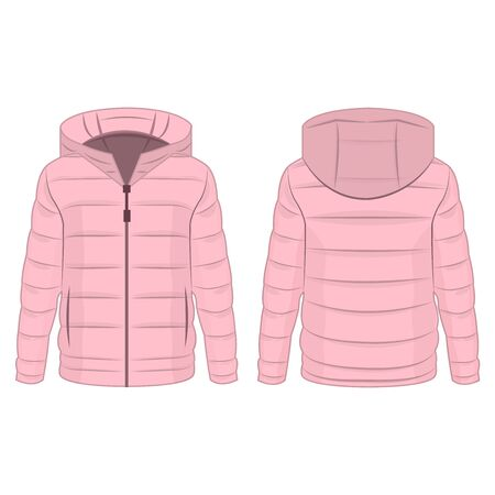 Baby pink winter down zipped jacket with hood isolated vector on the white background Illustration