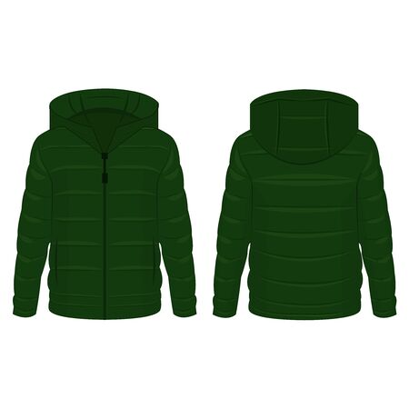Green winter down jacket isolated vector