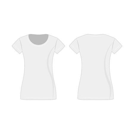 White lady T-shirt isolated vector Çizim