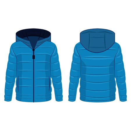 Light blue winter down zipped jacket with hood isolated vector on the white background