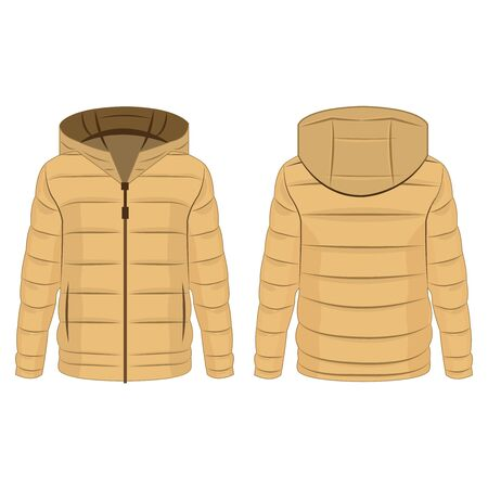 Light brown winter down zipped jacket with hood isolated vector on the white background Çizim