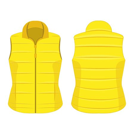 Yellow winter zipped vest isolated vector on the white background Çizim