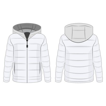 White winter down zipped jacket with hood isolated vector on the white background Çizim