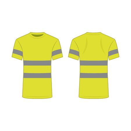 yellow reflective safety T-shirt for people isolated vector front and back for promotion on the white background