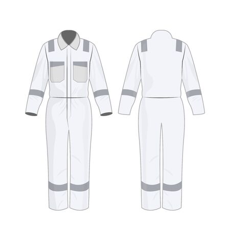 White work overalls with safety band isolated vector on the white background Çizim