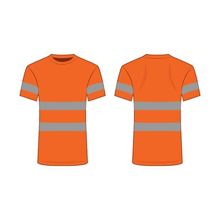 orange reflective safety T-shirt for people isolated vector front and back for promotion on the white background