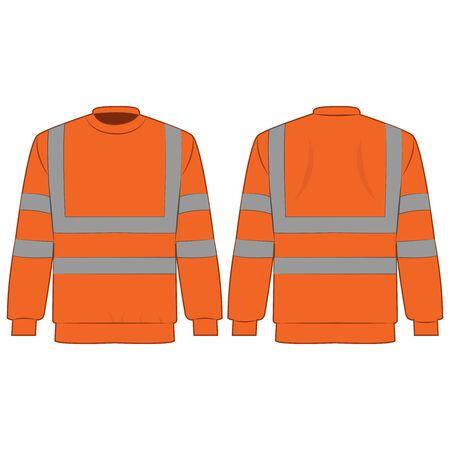 Orange high visibility sweatshirt isolated vector on the white background Çizim