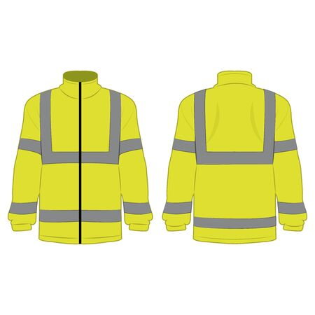 yellow high visibility fleece outdoor jacket isolated vector on the white background
