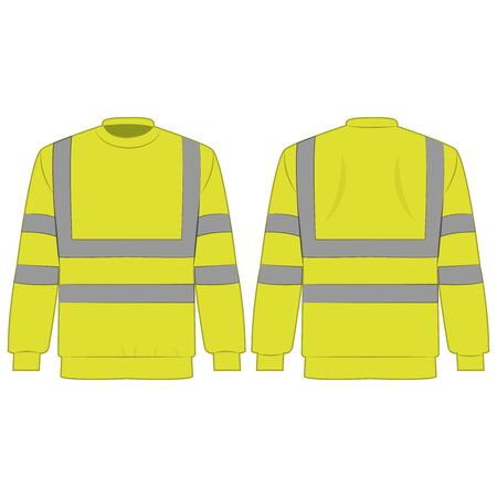 Yellow high visibility sweatshirt isolated vector on the white background