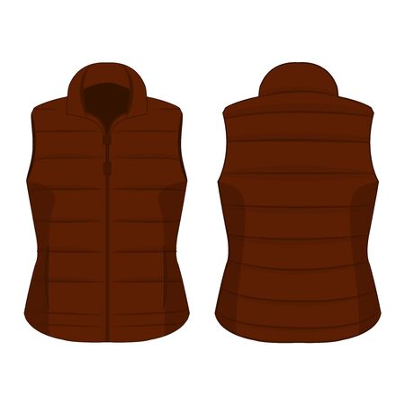 Brown winter zipped vest isolated vector on the white background