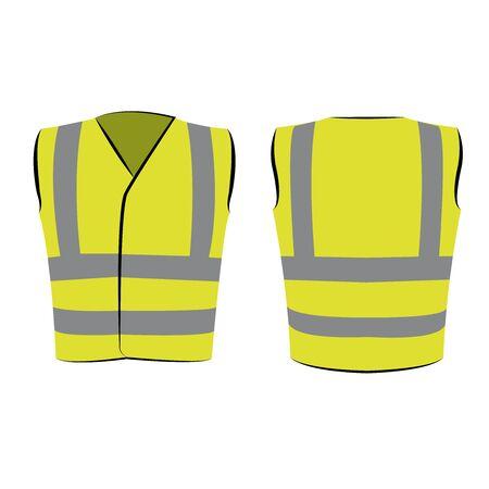 Yellow green reflective safety vest on  white Çizim