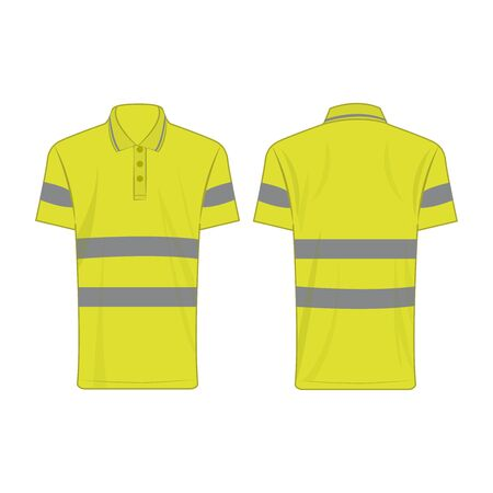 yellow reflective safety polo shirt for people isolated vector front and back for promotion on the white background