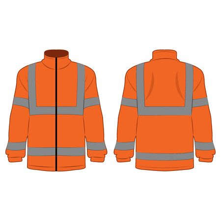 orange high visibility fleece outdoor jacket isolated vector on the white background