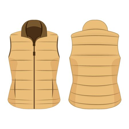 Light brown winter zipped vest isolated vector on the white background