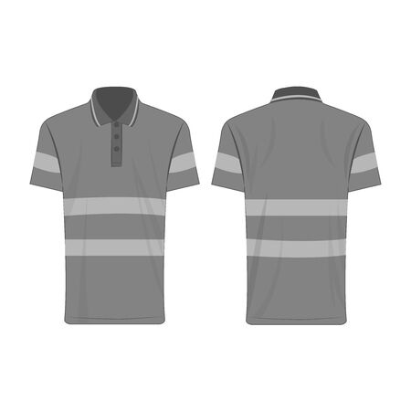 Gray reflective safety polo shirt for people isolated vector front and back for promotion on the white background Çizim