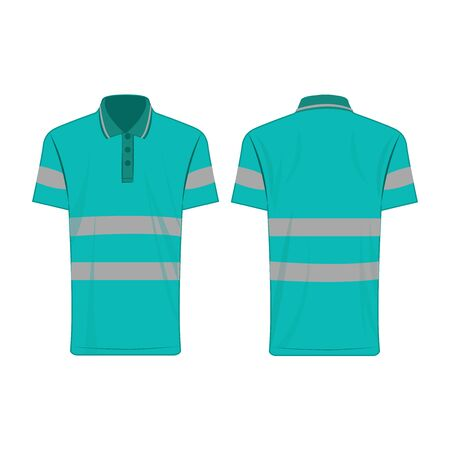 turquoise reflective safety polo shirt for people isolated vector front and back for promotion on the white background