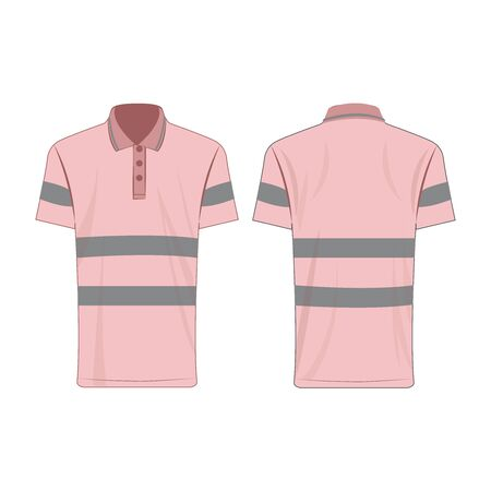 Baby pink reflective safety polo shirt for people isolated vector front and back for promotion on the white background