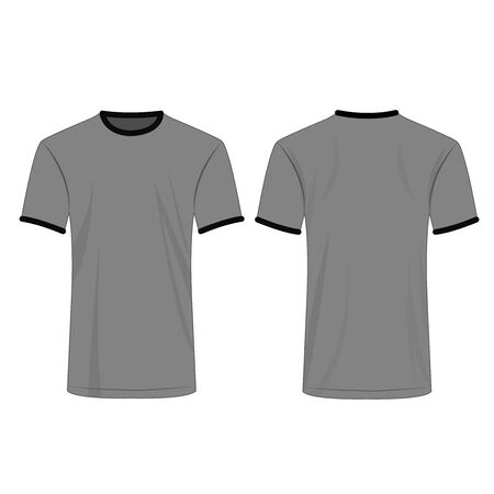 Two colors t shirt gray and black isolated vector set
