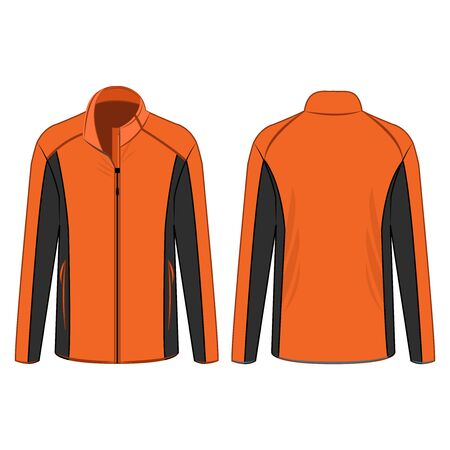 orange sport winter zipped fleece jacket isolated vector on the white background