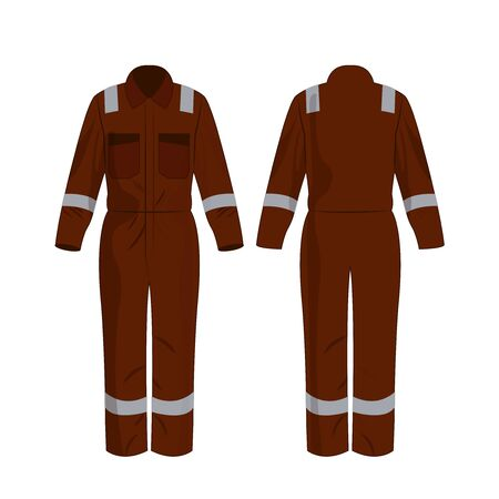 Brown work overalls with safety band isolated vector on the white background