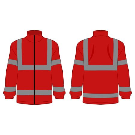 red high visibility fleece outdoor jacket isolated vector on the white background