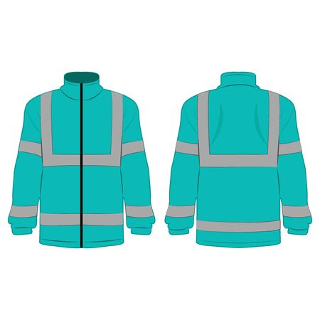 turquoise high visibility fleece outdoor jacket isolated vector on the white background