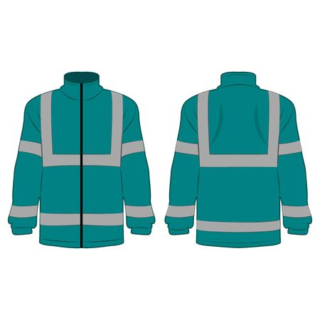 teal color high visibility fleece outdoor jacket isolated vector on the white background