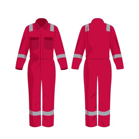 Hot pink work overalls with safety band isolated vector on the white background