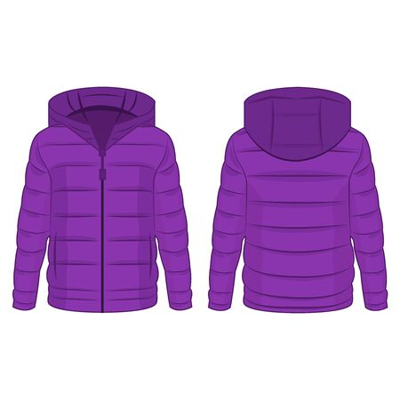 Violet winter down zipped jacket with hood isolated vector on the white background  Keywords language: English