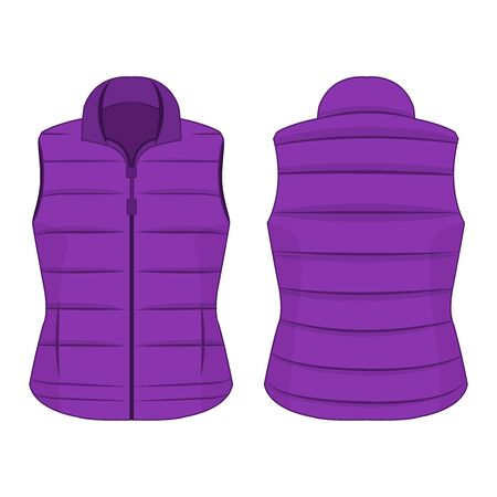 Violet winter zipped vest isolated vector on the white background