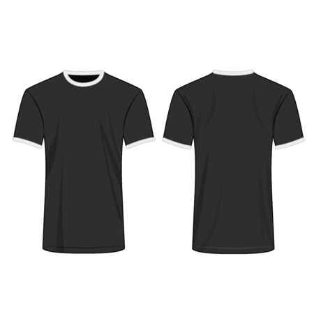 Two colors t shirt white and black isolated vector set
