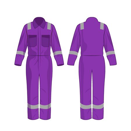 Violet work overalls with safety band isolated vector on the white background
