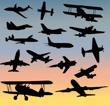 avion chasse: collection de silhouettes des avions  Illustration